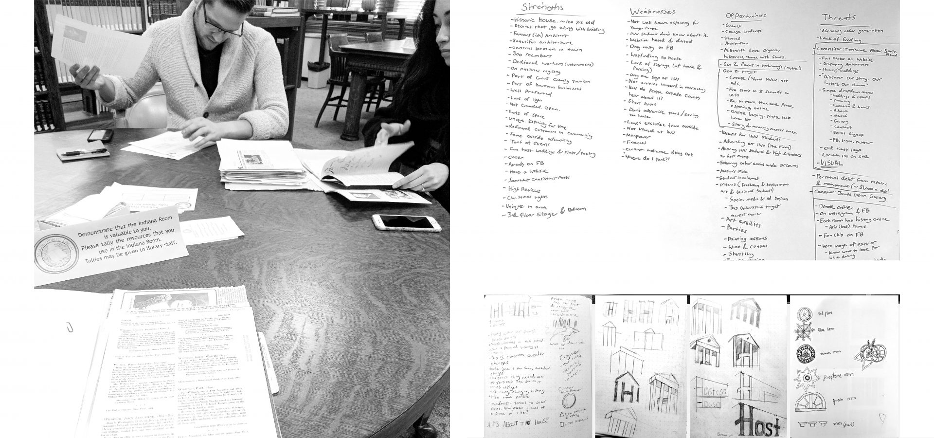 Images from the design process for Hostess house. Tim W. Swanson and design team on left, with with SWOT analysis and logo sketches on right.