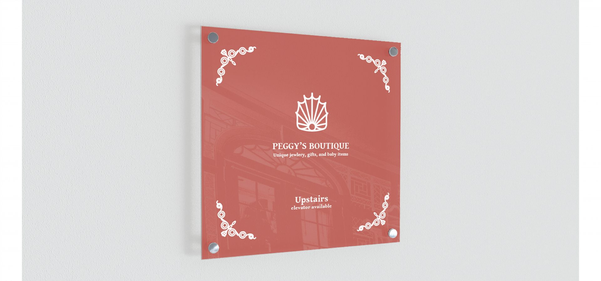 Design for door sign for Hostess House, feature sub-brand logo and directions.